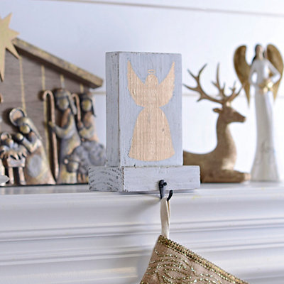 Gold Angel Silhouette Stocking Holder