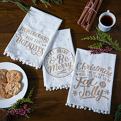 Gold Christmas Sentiment Hand Towels, Set of 3