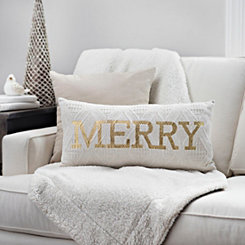 Gold and White Knit Merry Pillow