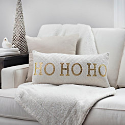 Gold and White Knit Ho Ho Ho Pillow