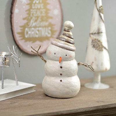 Bronze Hat Snowman Figurine