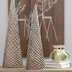 Bronze Glitter Net Cone Tree Statue, 20 in.