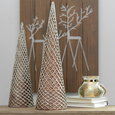Bronze Glitter Net Cone Tree Statue, 24 in.