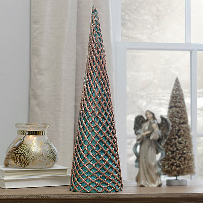 Turquoise Glitter Net Cone Tree Statue, 20 in.
