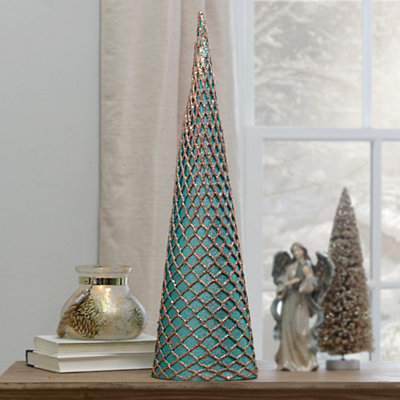 Turquoise Glitter Net Cone Tree Statue, 24 in.