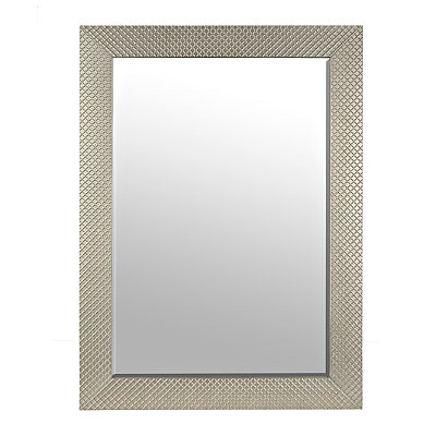 Embossed Silver Framed Mirror, 24x36 in.
