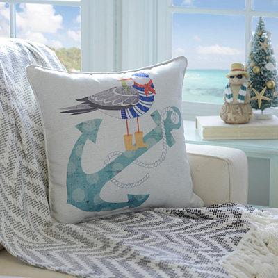 Christmas Blue Anchor Pillow