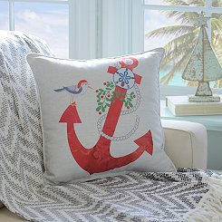 Christmas Red Anchor Pillow