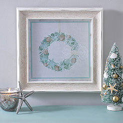 Coastal Christmas Wreath Framed Art Print