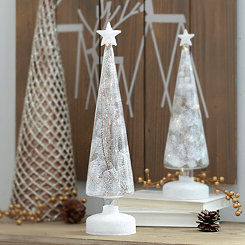 Pre-Lit Snowy Glass Tree Statue, 15 in.