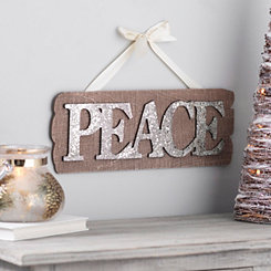 Peace Glitter Wooden Plaque