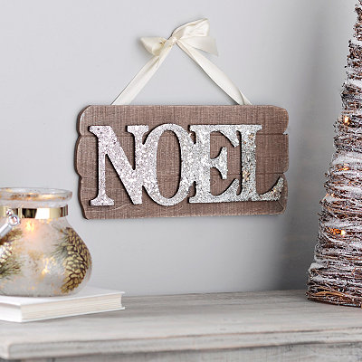 Noel Glitter Wooden Plaque