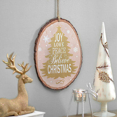 Christmas Sentiments Wood Slice Wooden Plaque