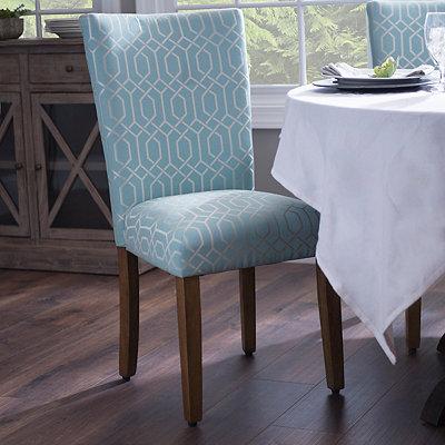 Blue Geometric Parson Chair