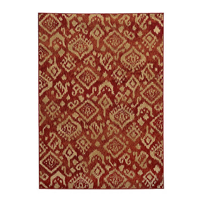 Red Ikat Cooper Area Rug, 5x7