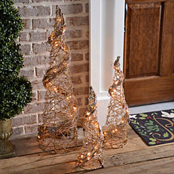Pre-Lit Rattan Glitter Spiral Trees, Set of 3