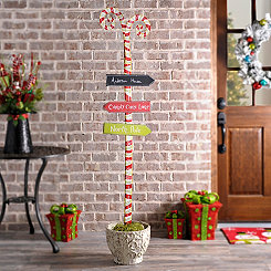 Metal Candy Cane Lane Sign Post