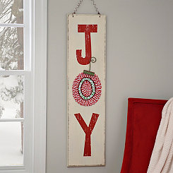 Joy Ornament Wood and Fabric Plaque
