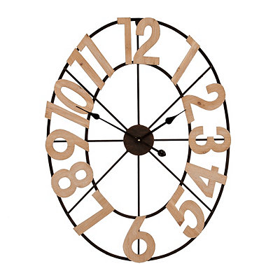 Wood Open Oval Clock