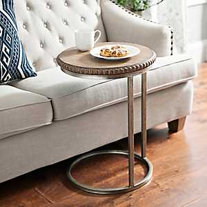 Beaded Round Wood C-Table