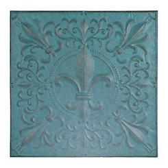 Turquoise Fleur-de-Lis Tile Metal Plaque
