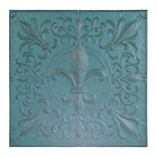 Turquoise Fleur De Lis Tile Metal Plaque Part 81