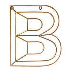 Gold Geometric Monogram B Metal Plaque