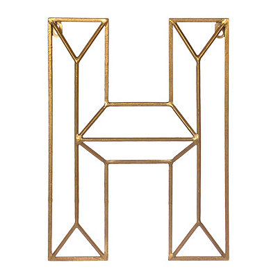 Gold Geometric Monogram H Metal Plaque