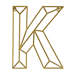 Gold Geometric Monogram K Metal Plaque