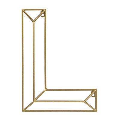 Gold Geometric Monogram L Metal Plaque