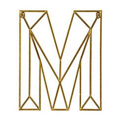 Gold Geometric Monogram M Metal Plaque
