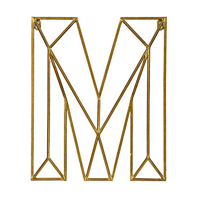 Gold Geometric Monogram M Metal Plaque