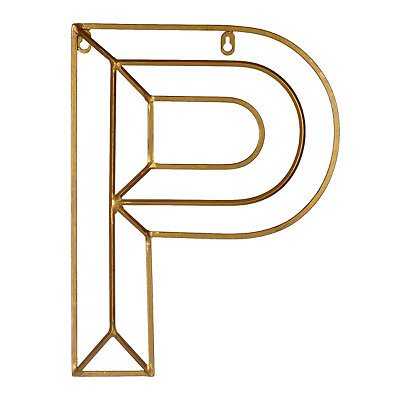 Gold Geometric Monogram P Metal Plaque