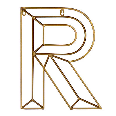 Gold Geometric Monogram R Metal Plaque