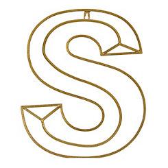 Gold Geometric Monogram S Metal Plaque