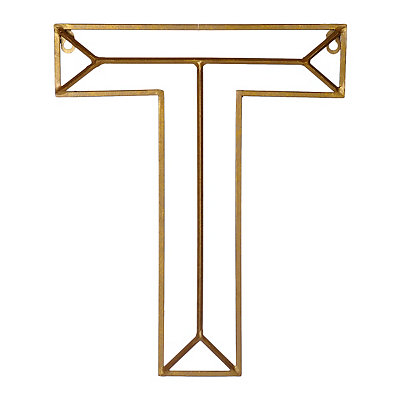 Gold Geometric Monogram T Metal Plaque