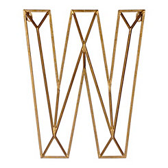 Gold Geometric Monogram W Metal Plaque