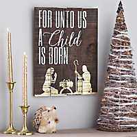 For Unto Us A Child Is Born Wooden Plaque