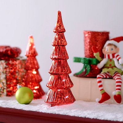 Red LED Mercury Tree Statue, 12 in.