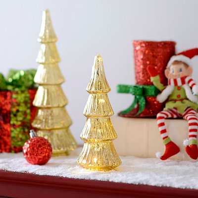 Gold LED Mercury Tree Statue, 9 in.