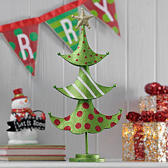 Green Patterned Metal Christmas Tree Statue
