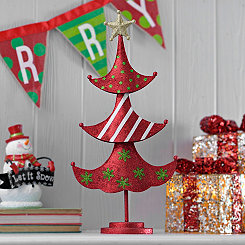 Red Patterned Metal Christmas Tree Statue