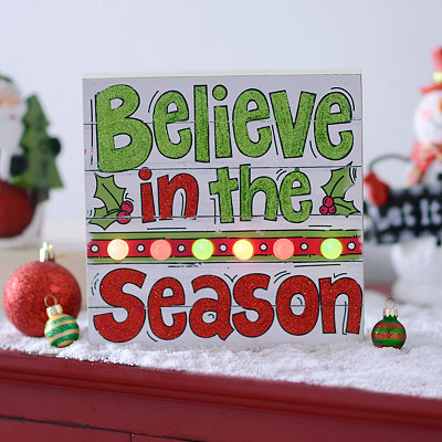 Pre-Lit Believe In The Season Wall Plaque