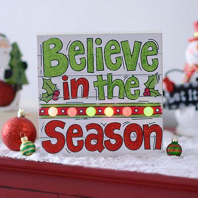 Pre-Lit Believe In The Season Wall Plaque
