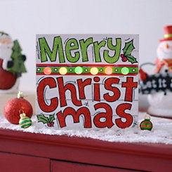 Pre-Lit Merry Christmas Wall Plaque