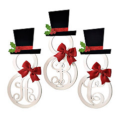 Hatted Snowman Monogram Wall Plaques