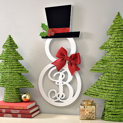 Hatted Snowman Monogram B Wall Plaque