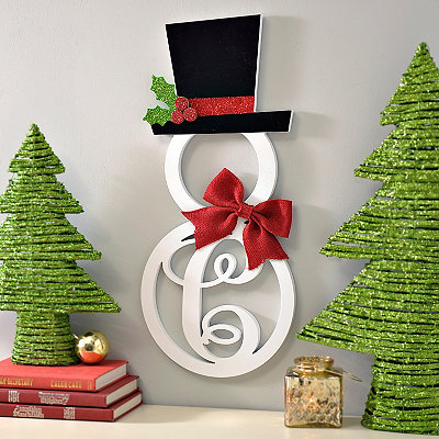 Hatted Snowman Monogram C Wall Plaque