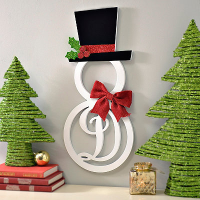 Hatted Snowman Monogram D Wall Plaque