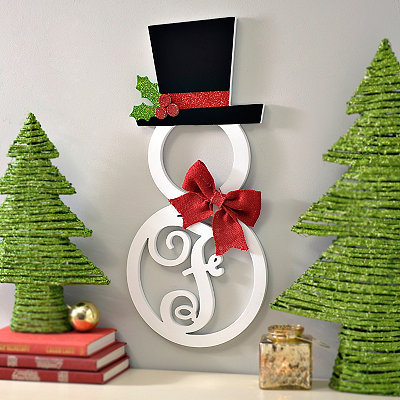 Hatted Snowman Monogram F Wall Plaque